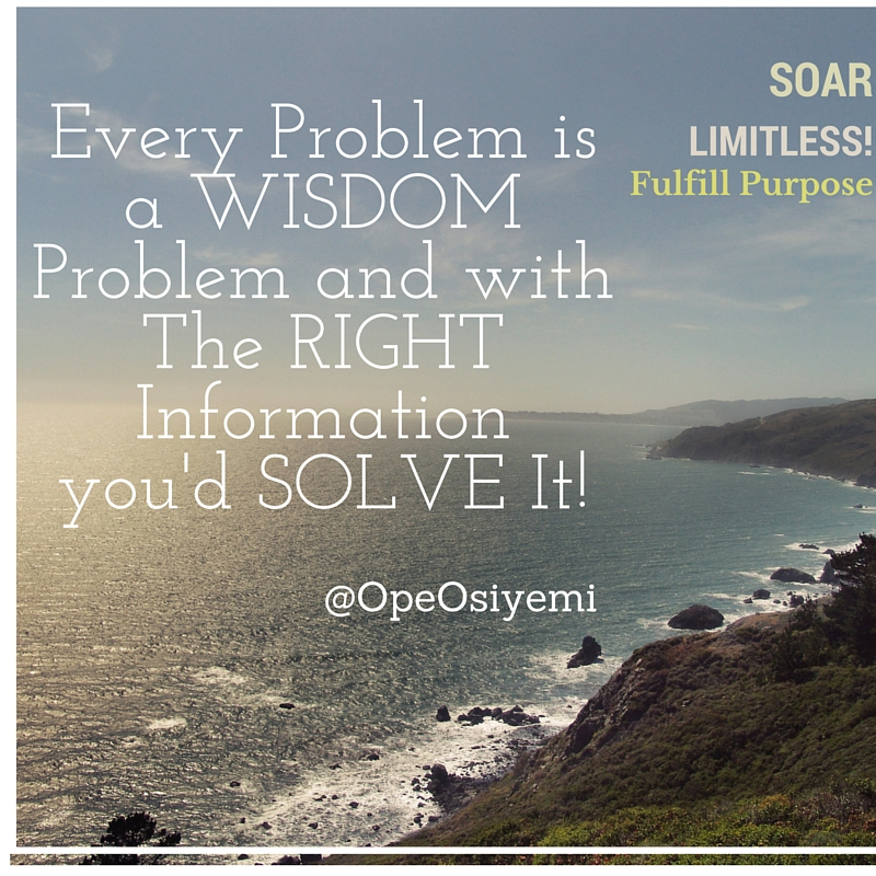 Every Problem is a WISDOM Problem and with The RIGHT Informationyou'd solve It!